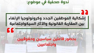صورة تنظيم ندوة صحفية حول إشكالية الموظفين الجدد وكرنولوجيا الإلغاء بين المقاربة القانونية والاثار السيكو إجتماعية
