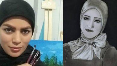 صورة الفنّانة حكيمة توكّلي ترسم سناء الشّعلان في معرض فنّيّ كامل