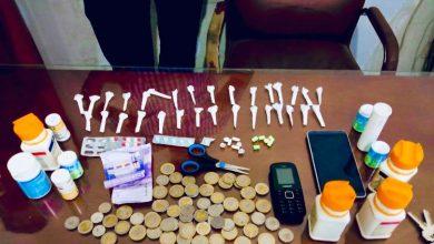 صورة توقيف شخص بحوزته 31 جرعة من مخدر الكوكايين و كمية من الأقراص المهلوسة بحي مسنانة بطنجة