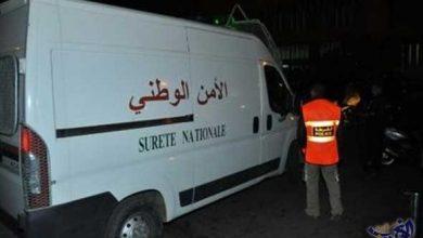 صورة توقيف احد مروجي المخدرات والمؤثرات العقلية بحي العرفان وسط مدينة طنجة.